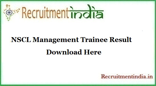 NSCL Management Trainee Result