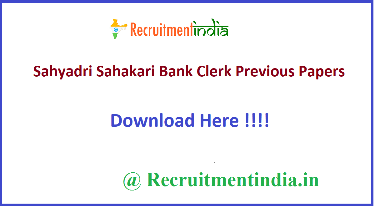 Sahyadri Sahakari Bank Clerk Previous Papers