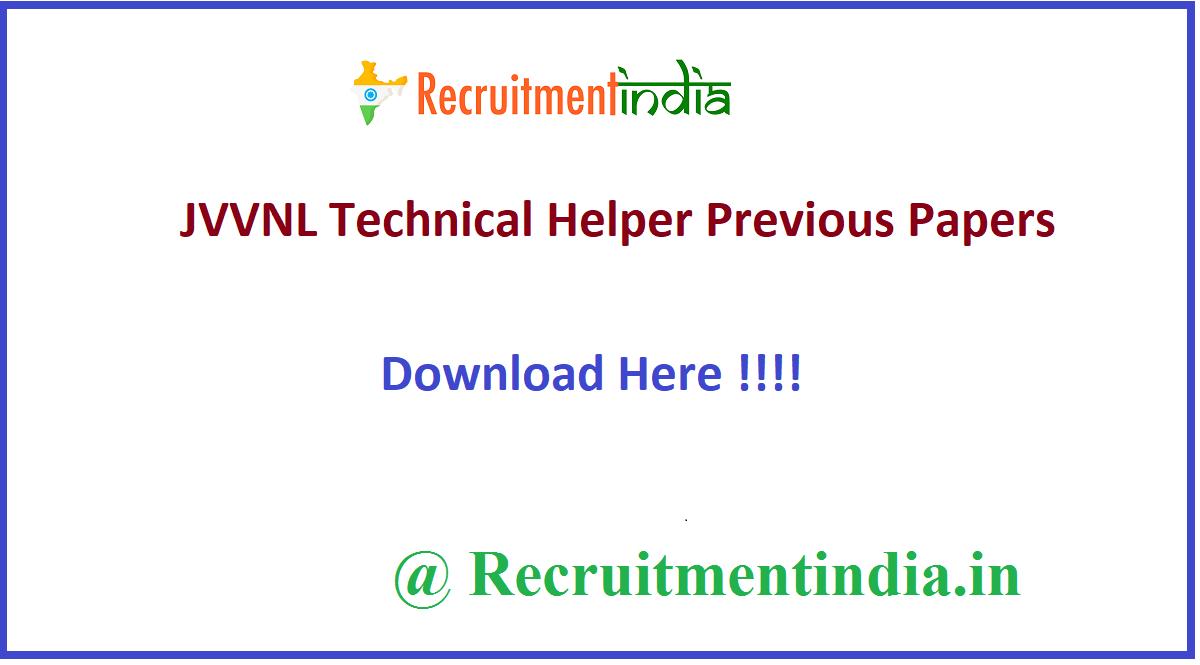 JVVNL Technical Helper Previous Papers