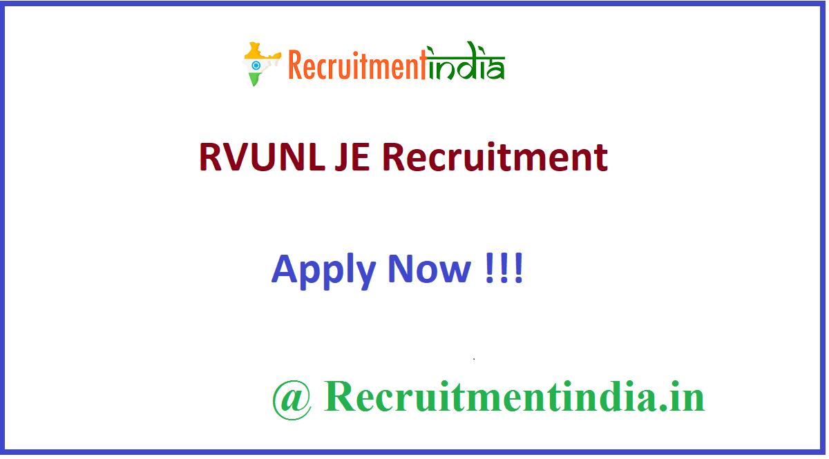 RVUNL JE Recruitment