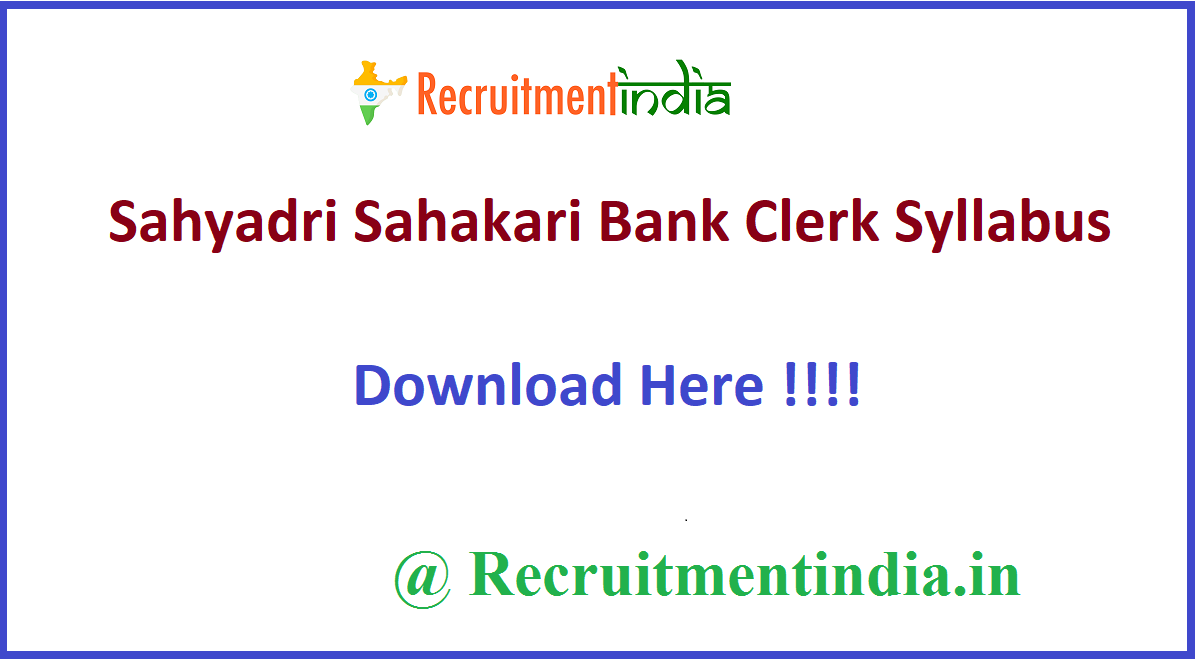 Sahyadri Sahakari Bank Clerk Syllabus