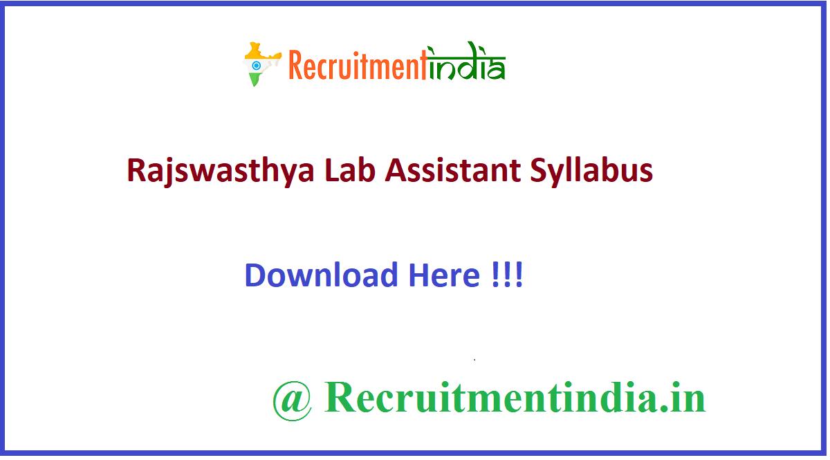 Rajswasthya Lab Assistant Syllabus