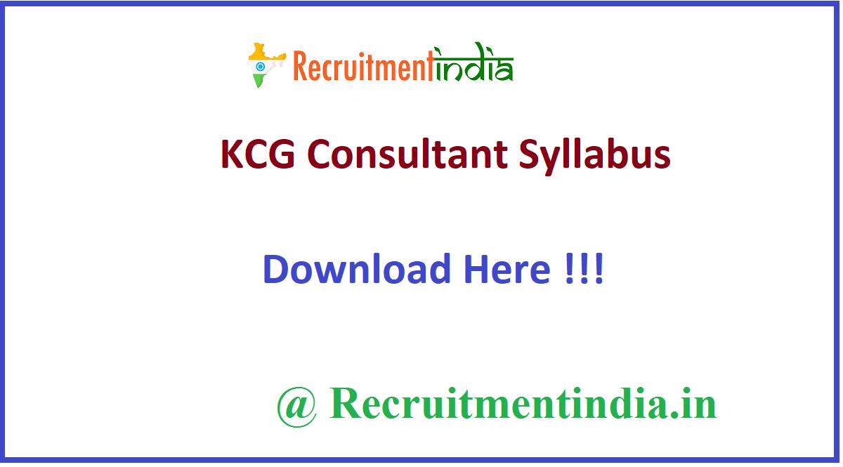 KCG Consultant Syllabus