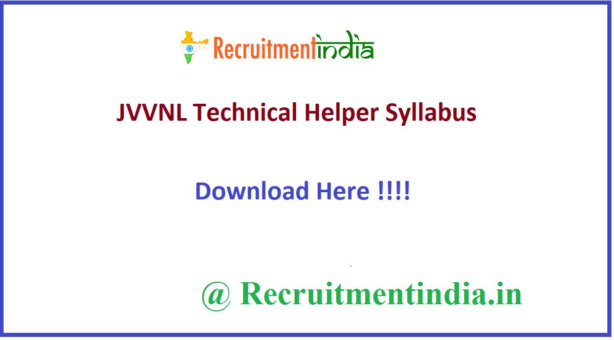 JVVNL Technical Helper Syllabus