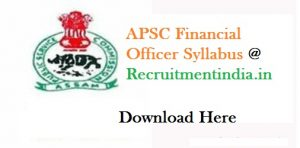 APSC Finance Officer Syllabus