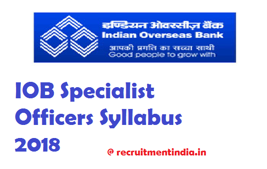 Indian Overseas Bank Specialist Officers Syllabus