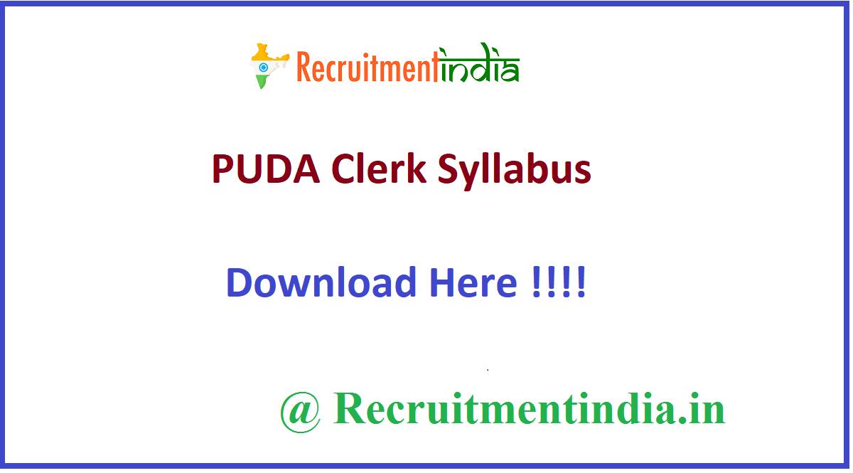 PUDA Clerk Syllabus