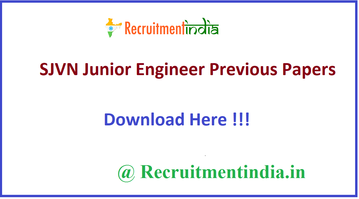 SJVN Junior Engineer Previous Papers