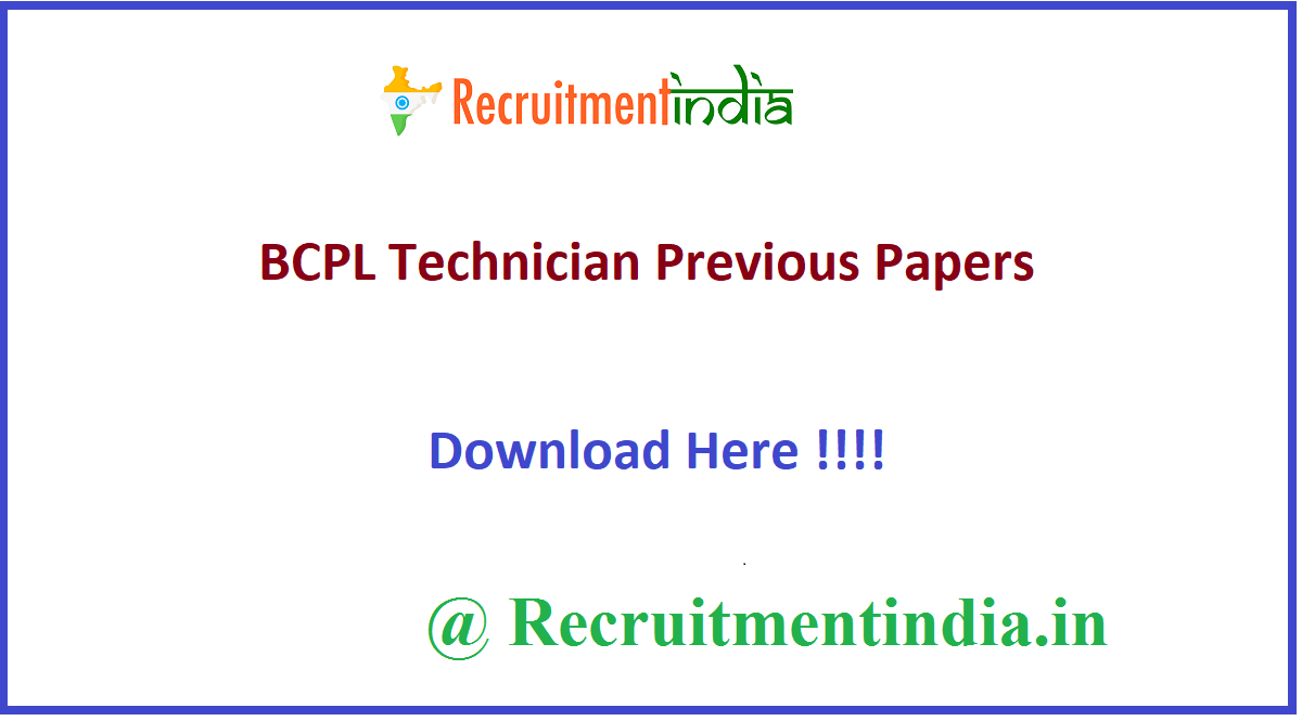 BCPL Technician Previous Papers
