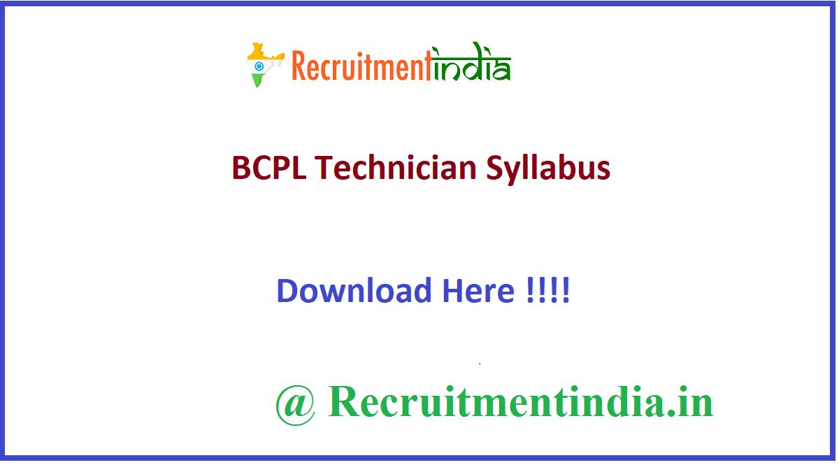 BCPL Technician Syllabus