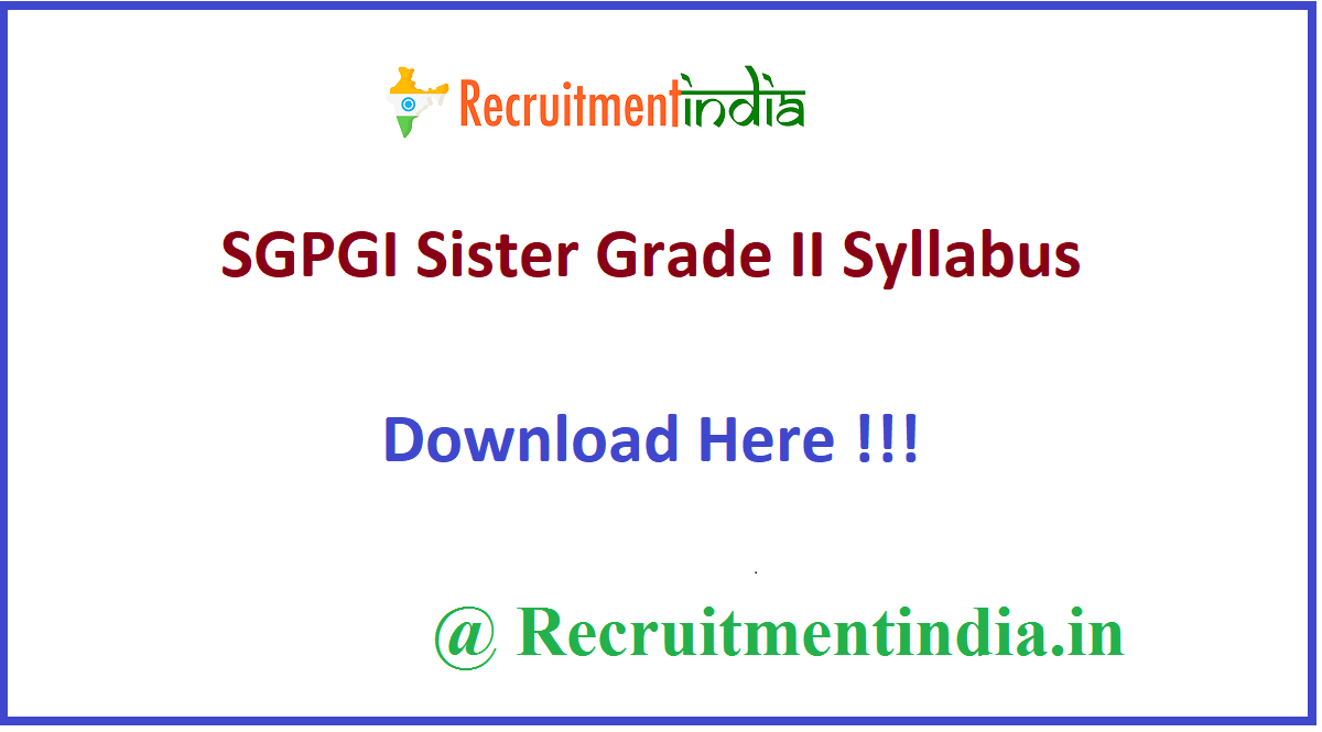 SGPGI Sister Grade II Syllabus