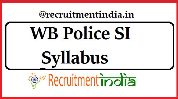 WB Police SI Syllabus