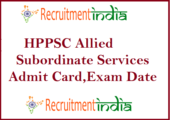 HPPSC Allied Subordinate Services Admit Card