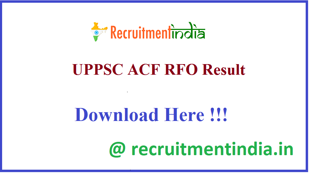 UPPSC ACF RFO Result