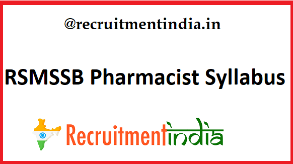 RSMSSB Pharmacist Syllabus