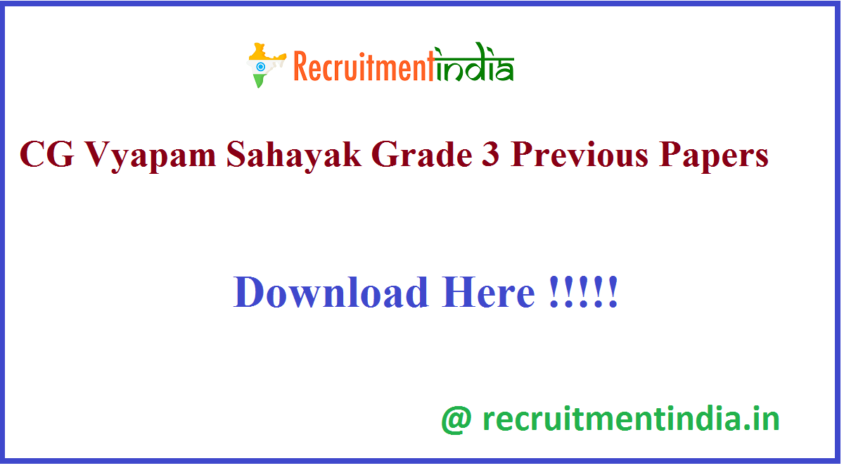 CG Vyapam Sahayak Grade 3 Previous Papers
