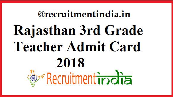 Rajasthan 3rd Grade Teacher Admit Card