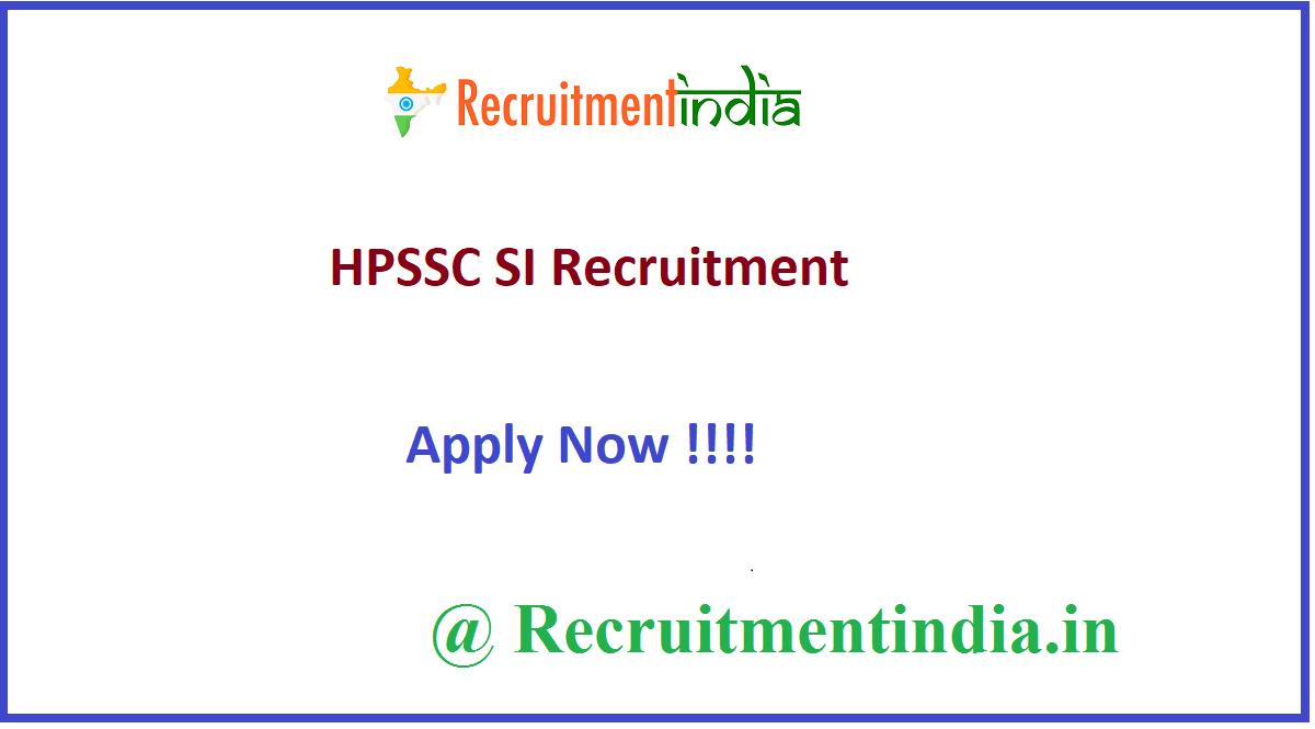 HPSSC SI Recruitment