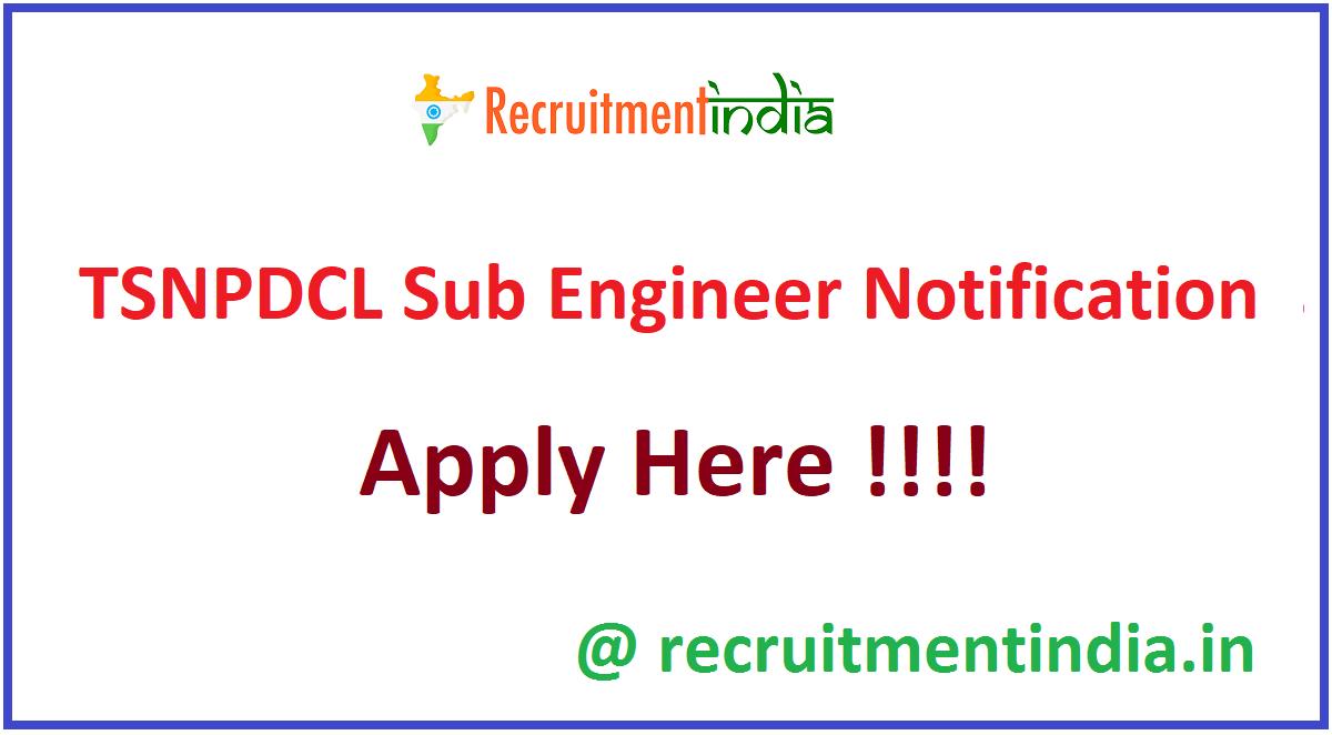 TSNPDCL Sub Engineer Notification
