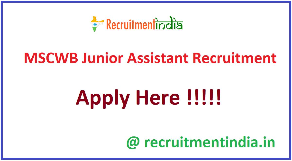 MSCWB Junior Assistant Recruitment