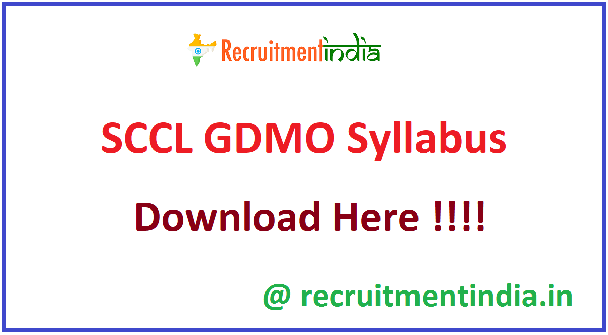 SCCL GDMO Syllabus