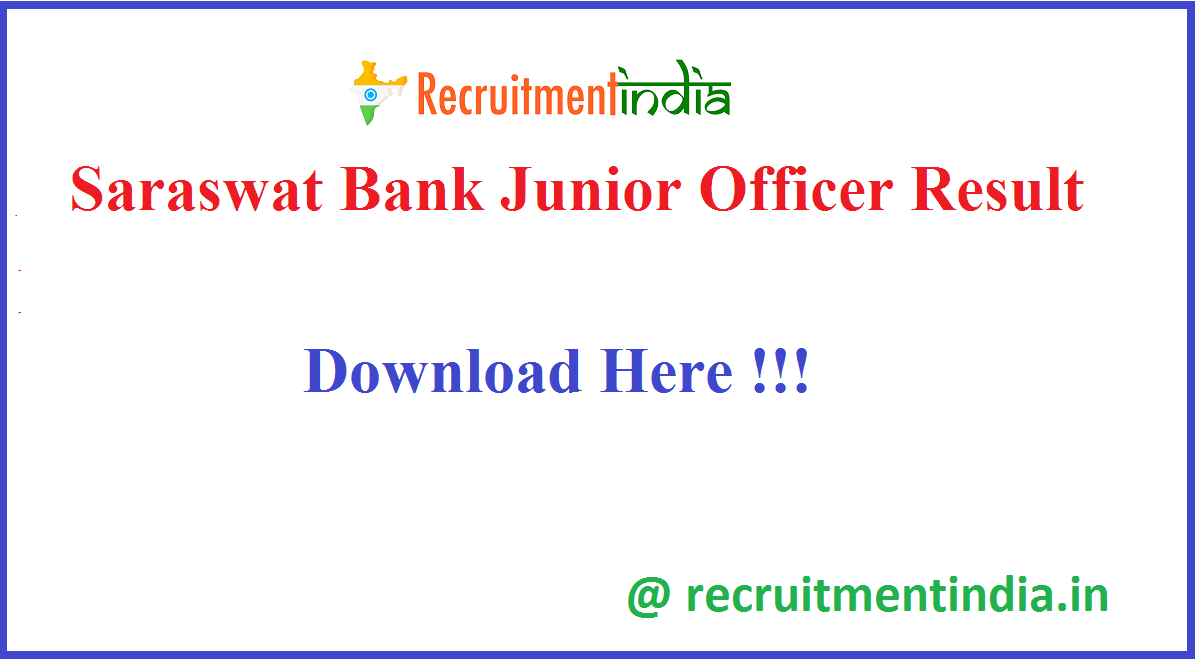 Saraswat Bank Junior Officer Result