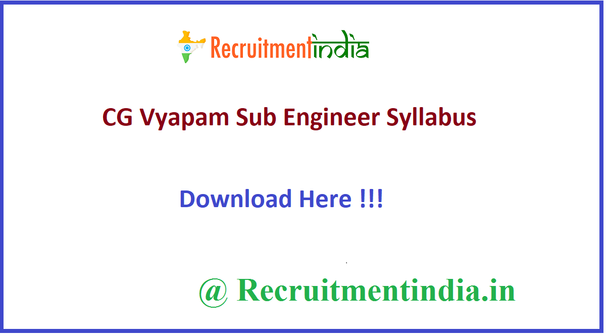 CG Vyapam Sub Engineer Syllabus