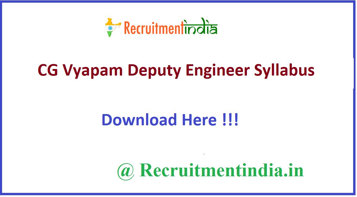 CG Vyapam Deputy Engineer Syllabus