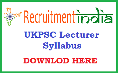 UKPSC Lecturer Syllabus