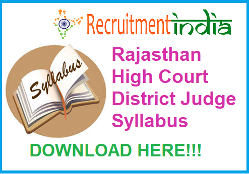 Rajasthan High Court District Judge Syllabus