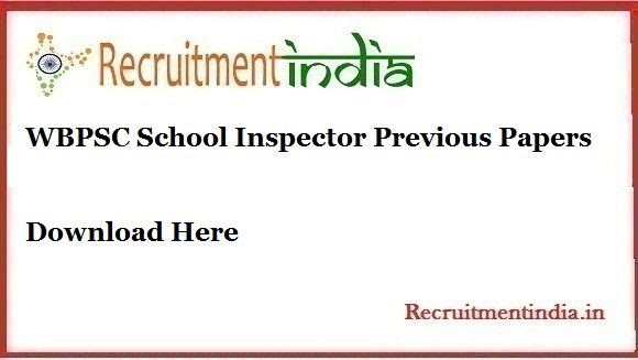 WBPSC School Inspector Previous Papers