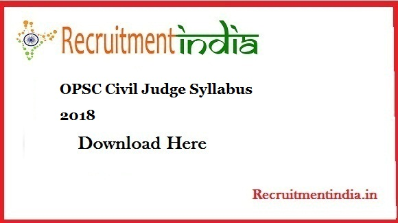 OPSC Civil Judge Syllabus