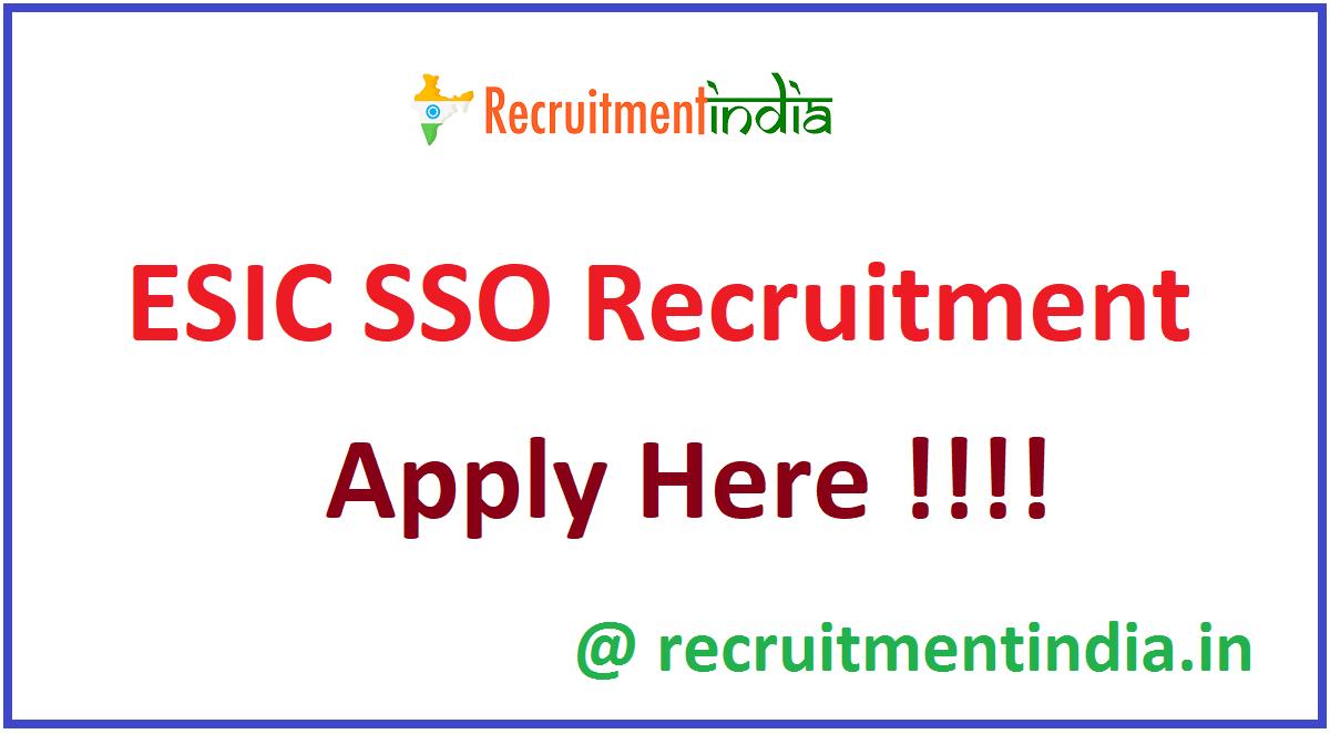 ESIC SSO Recruitment