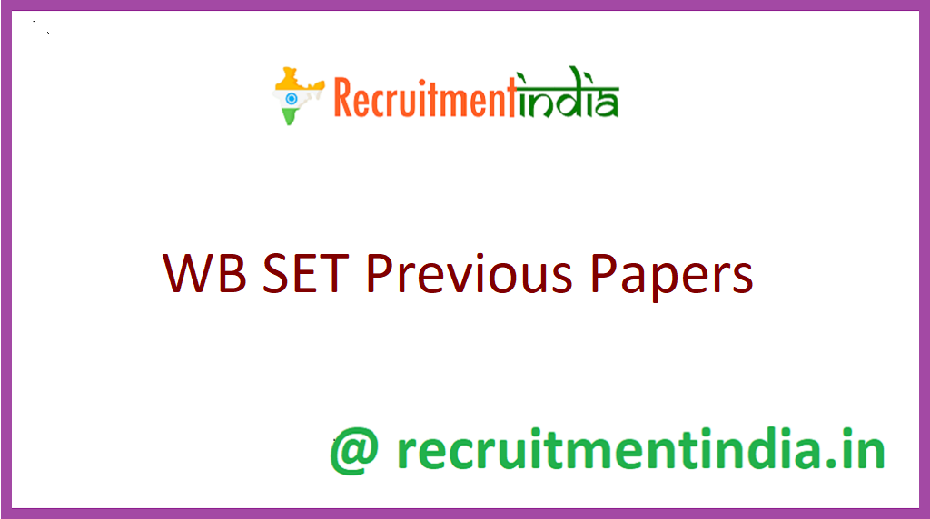 WB SET Previous Papers