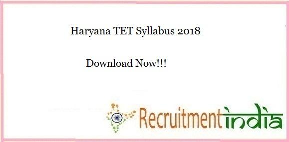 Haryana TET Syllabus 2018