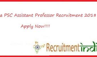Goa PSC Assistant Professor Recruitment 2018