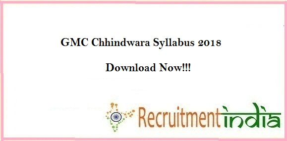 GMC Chhindwara Staff Nurse Syllabus 2018