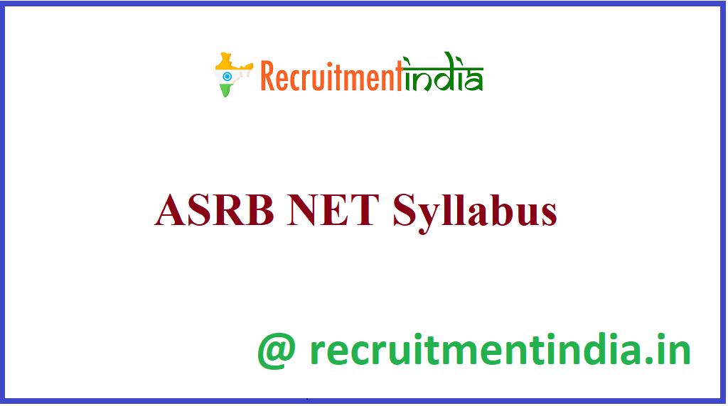 ASRB NET Syllabus
