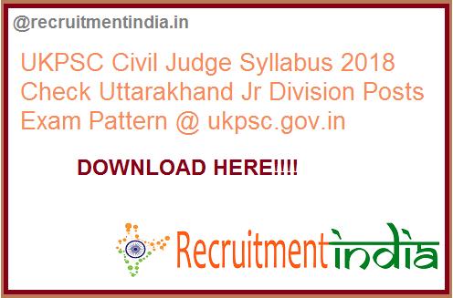 UKPSC Civil Judge Syllabus