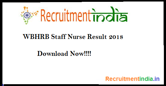 WBHRB Staff Nurse Result 2018
