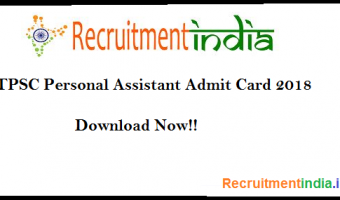 TPSC Personal Assistant Admit Card 2018