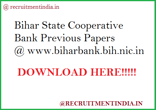 Bihar State Cooperative Bank Previous Papers