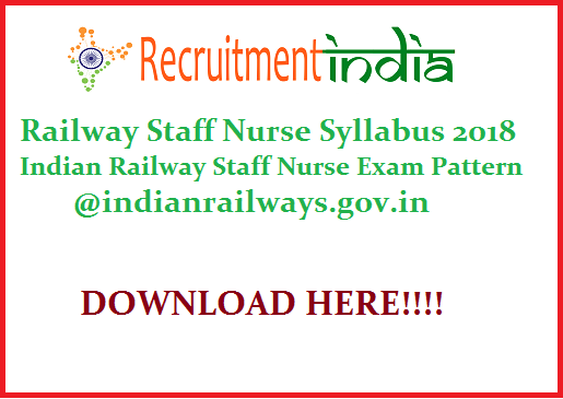 Railway Staff Nurse Syllabus
