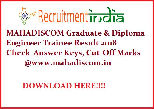 MAHADISCOM Diploma Engineer Trainee Result