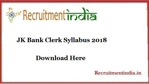 JK Bank Clerk Syllabus
