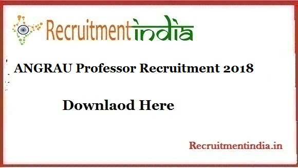 ANGRAU Professor Recruitment