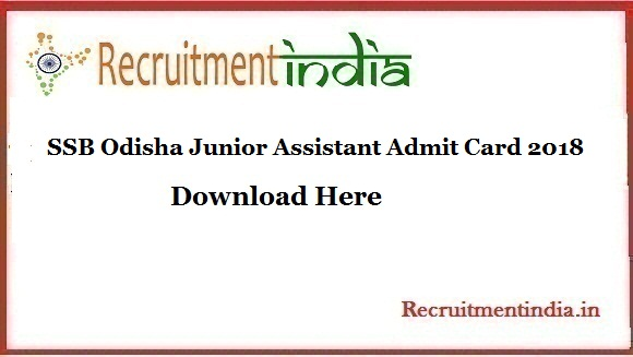 SSB Odisha Junior Assistant Admit Card