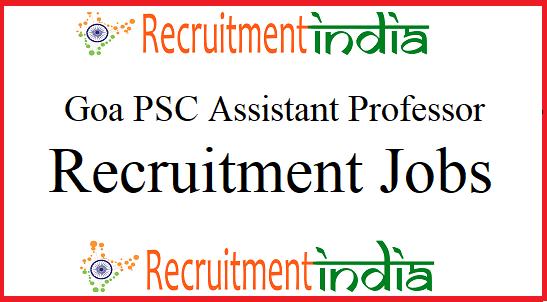 Goa PSC Assistant Professor Recruitment