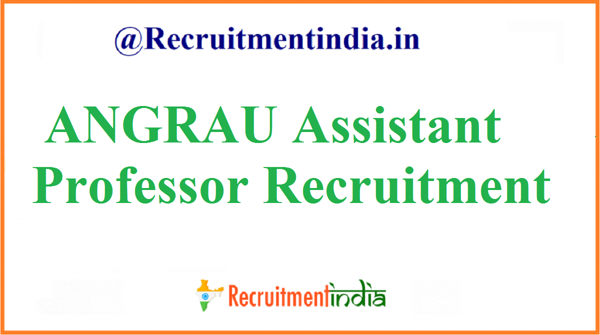 ANGRAU Assistant Professor Recruitment