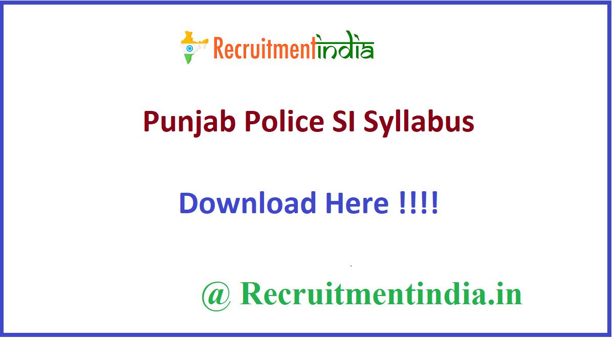 Punjab Police SI Syllabus